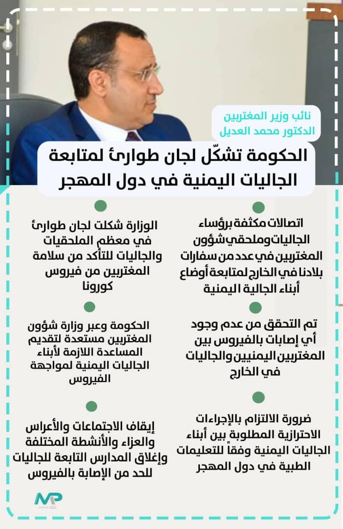 نائب الوزير : الحكومة تشكل لجان طوارئ لمتابعة الجاليات اليمنية في دول المهجر