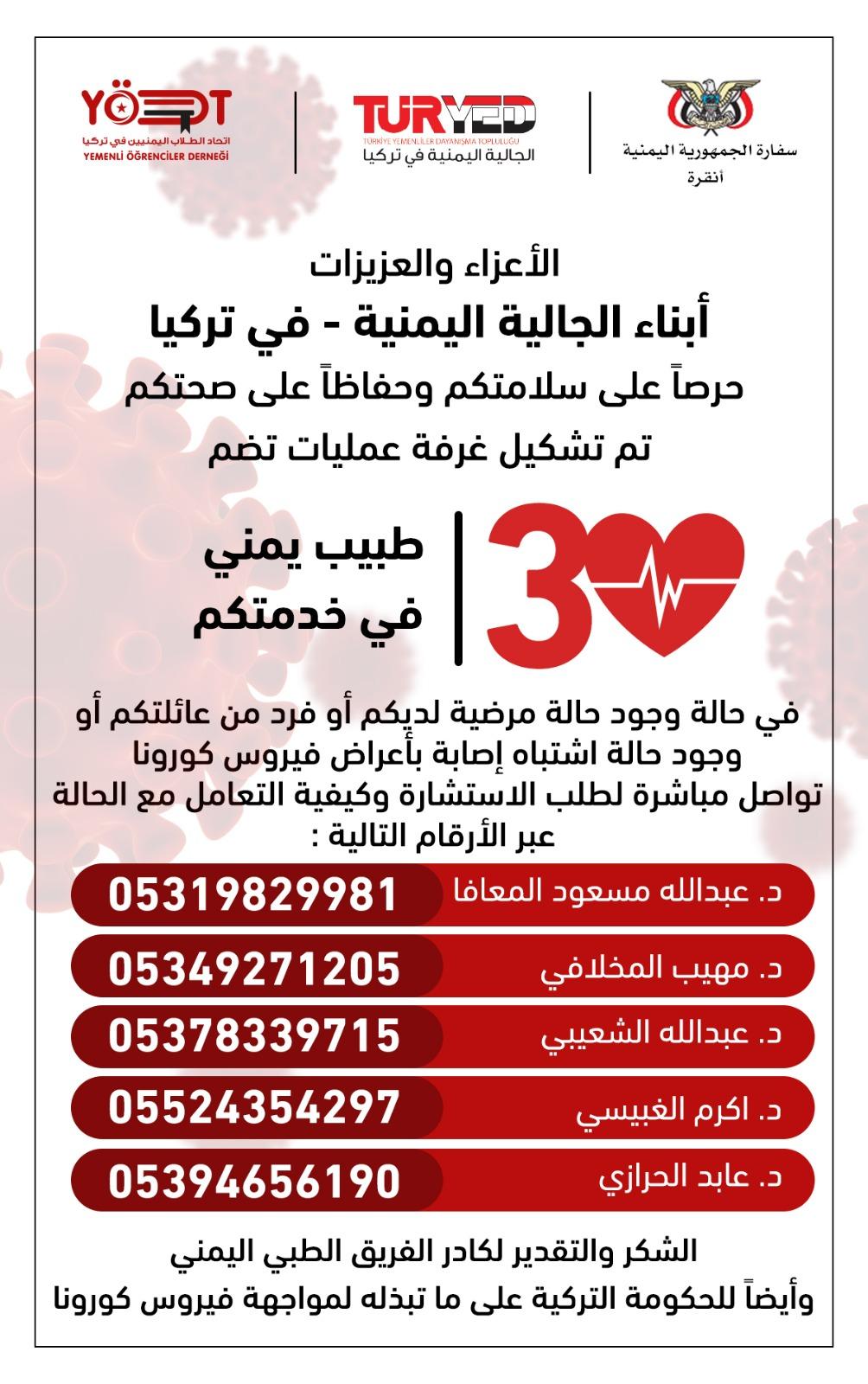 الجالية اليمنية في تركيا تشكل غرفة عمليات تضم 30 طبيباً يمنياً